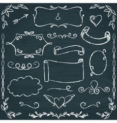 Hand-drawn chalkboard frames and elements set vector