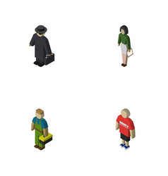 Isometric people set of pedagogue guy detective vector