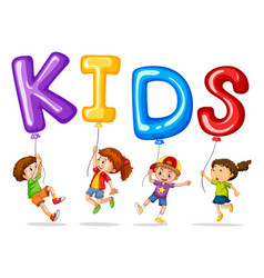 kids with colorful balloons for word kids vector image vector image