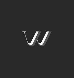 Letter w logo minimal monogram faceted style vector