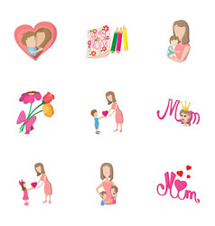 Mothers day holiday icons set cartoon style vector