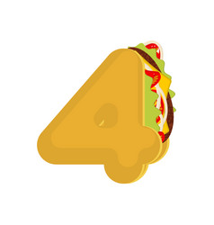 number 4 tacos mexican fast food font four taco vector image
