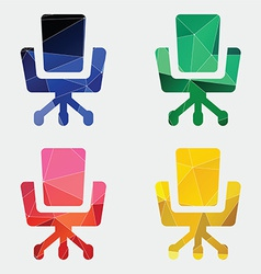 Office chair icon abstract triangle vector