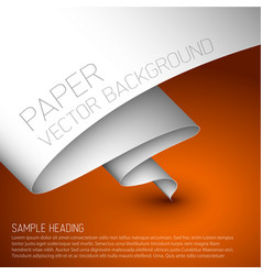 orange simple background with white paper vector image
