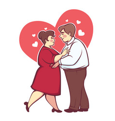 Overweight romantic couple happy cartoon man and vector