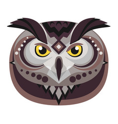 owl head logo decorative emblem vector image vector image