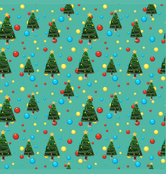 Seamless background template with christmas tree vector