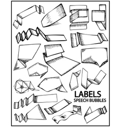 set of hand drawn labels vector image vector image
