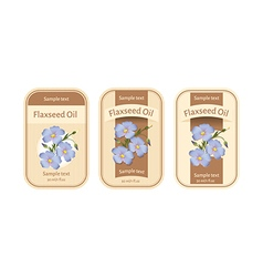 Set of labels for flaxseed oil vector