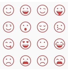 Set of red Emoticons Emoji and Avatar Outline vector image