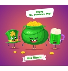 Set of sint patrick day characters cute vector image