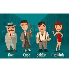 Set person mafia don capo soldier prostitute vector