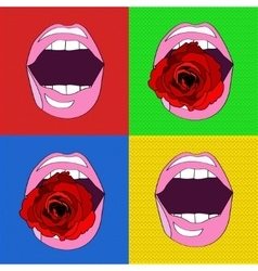 Sexy pink lips in the style of pop-art vector