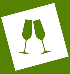 Sparkling champagne glasses white icon vector