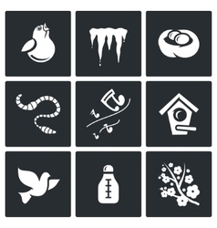Spring mood icons vector