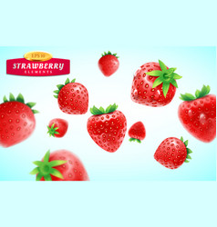 strawberry set detailed realistic ripe fresh vector image vector image