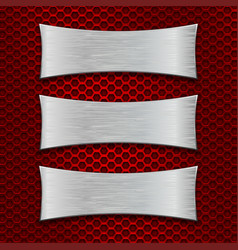 three asymmetric scratched metal plates on red vector image vector image