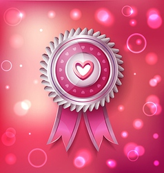 Valentine Day pink label with ribbons vector image
