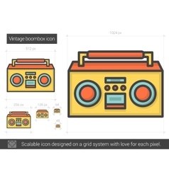 Vintage boombox line icon vector