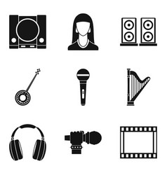 warble icons set simple style vector image vector image