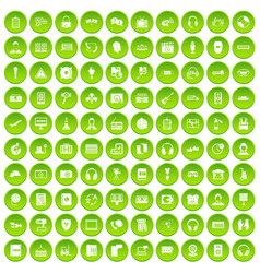 100 headphones icons set green circle vector