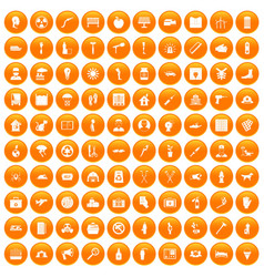 100 help icons set orange vector