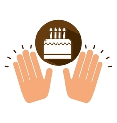 Two hands holding birthday cake vector