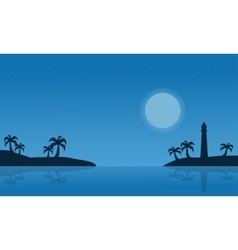 Silhouette of island on seaside scnery vector
