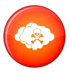 Cloud with skull and bones icon flat style vector