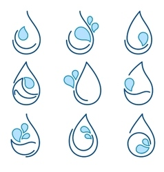 Set of water symbol templates emblems signs logo vector image