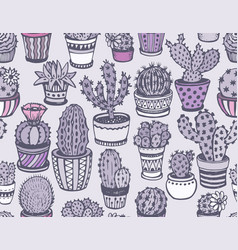 Seamless pattern with hand drawn cactus vector