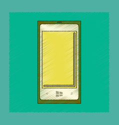 Flat shading style icon mobile phone vector