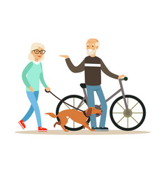 Old man standing next to a bike senior woman vector