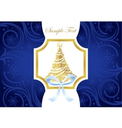 Christmas blue and gold greeting card with vector image