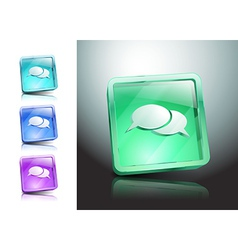Glass icons set green messaging talk vector