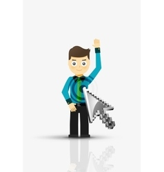 Arrow and man click on the person flat design vector