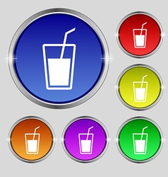 Soft drink icon sign round symbol on bright vector