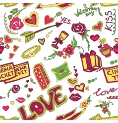Colored valentines day doodle pattern vector