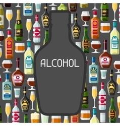 Alcohol drinks background design Bottles glasses vector image vector image