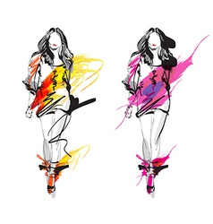 Artistic Fashion Sketch vector image vector image