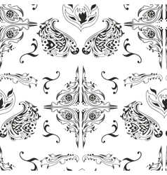 Black and white damask pattern vector