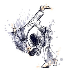 Colored hand sketch fighting judo vector