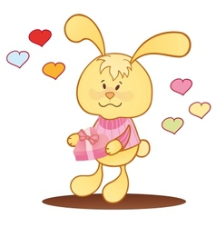 Cute bunny with hearts vector image vector image