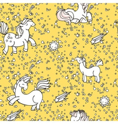 Cute seamless unicorn pattern with stars and suns vector