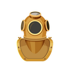 diving helmet rigid head enclosure with breathing vector image