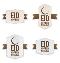 Eid al-adha mubarak labels set vector