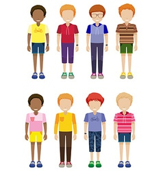 Eight faceless kids standing vector image vector image