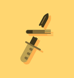 Flat icon design collection bullet broke knife in vector