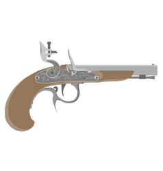 flintlock vintage pistol gun weapon old white vector image