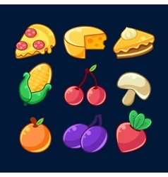 Food Items Outlined Childish Stickers Set For vector image vector image